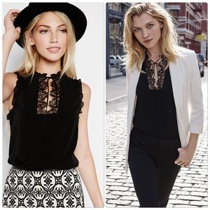 Express Black Lace Bib Top